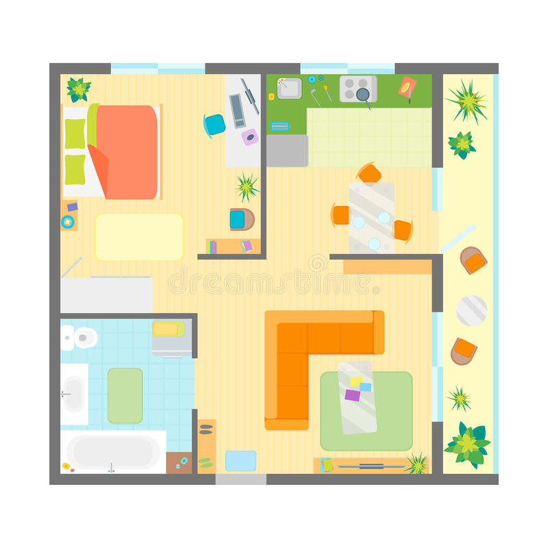 Apartment Floor Plan with Furniture Top View. Vector royalty free illustration
