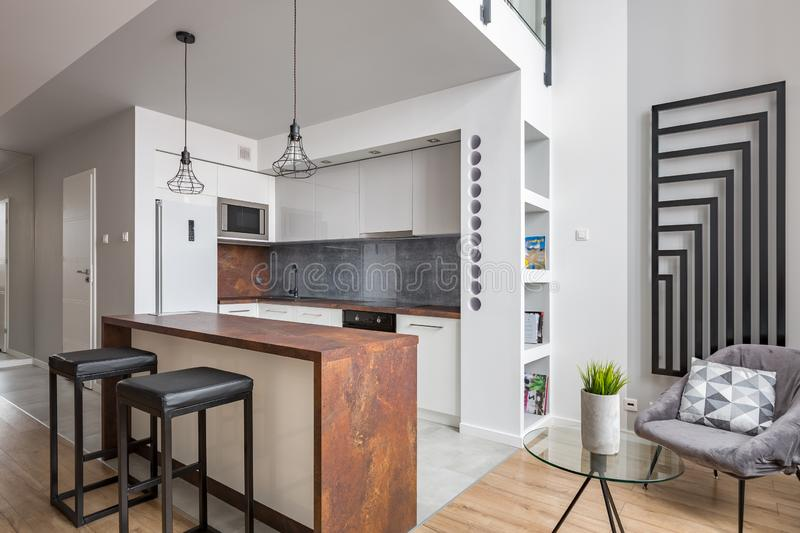 Apartment with functional open kitchen royalty free stock images