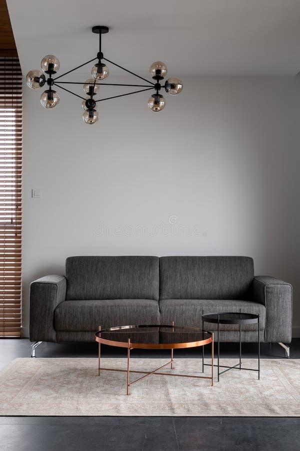 Apartment with gray stylish sofa. Modern apartment with stylish gray sofa and decorative, ceiling lamp stock image