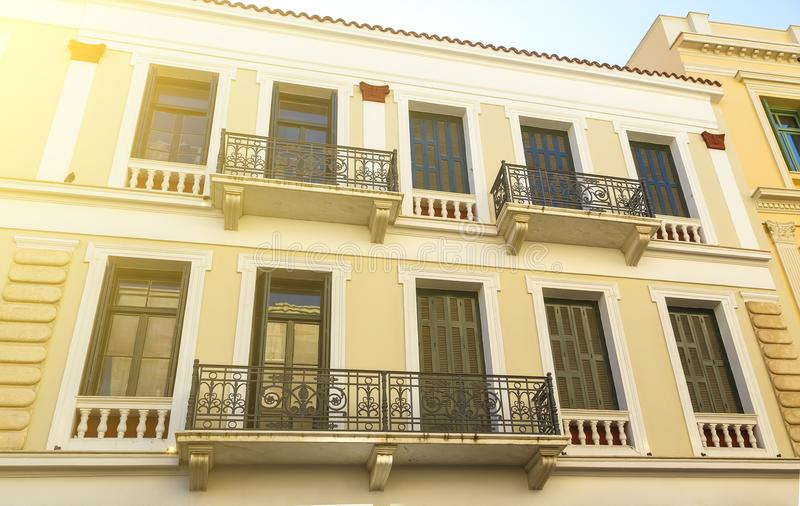 Apartment in historical building Italian style with balcony, Crete, Greece stock photos