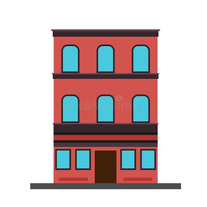 Apartment house building concept vector structure real estate. Architecture luxury residence exterior stock illustration