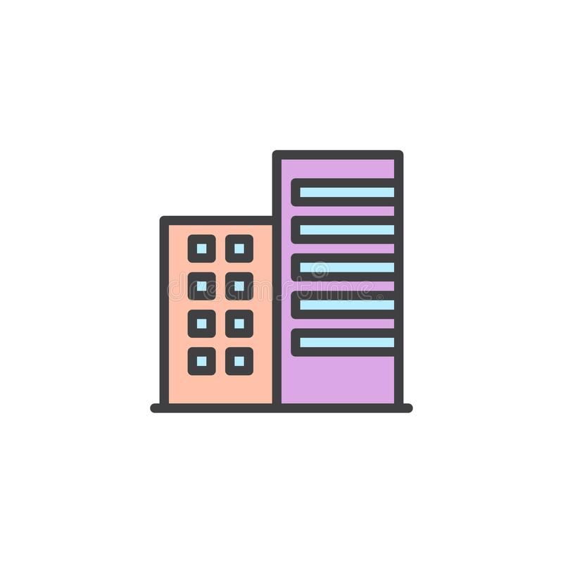 Apartment house building filled outline icon. Line vector sign, linear colorful pictogram isolated on white. Symbol, logo illustration. Pixel perfect vector vector illustration