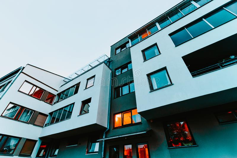 Apartment house and home residential building complex real estate evening. Apartment house and home residential building complex real estate concept. In the royalty free stock photography