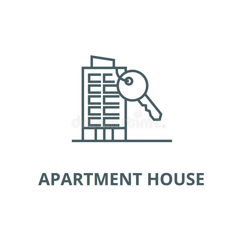 Apartment house with key line icon, vector. Apartment house with key outline sign, concept symbol, flat illustration. Apartment house with key line icon, vector vector illustration