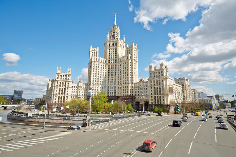 Apartment house at Kotelnicheskaya Embankment. In Moscow on spring day royalty free stock image