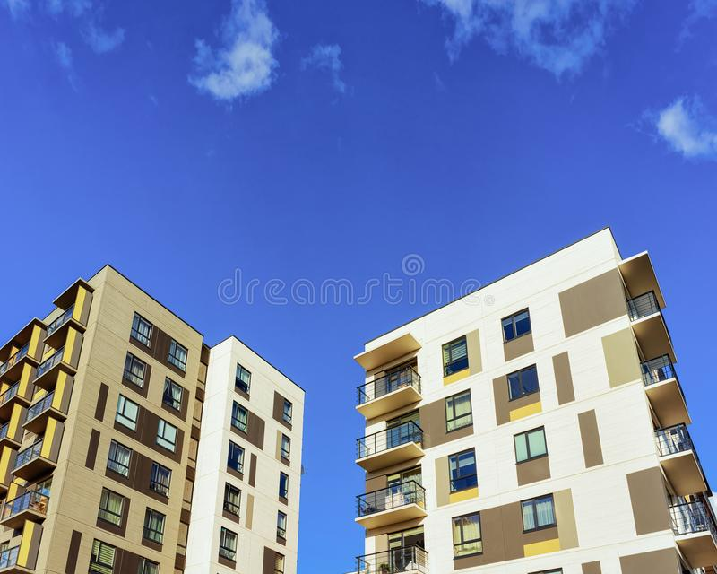 Apartment houses homes residential building complex real estate copy space. Apartment housess and homes residential building complex real estate concept. Place royalty free stock photo