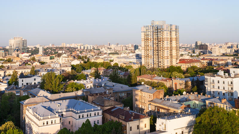 Apartment houses in Kiev city in spring dawning. Travel to Ukraine - above view of apartment houses in Kiev city in spring dawning royalty free stock image
