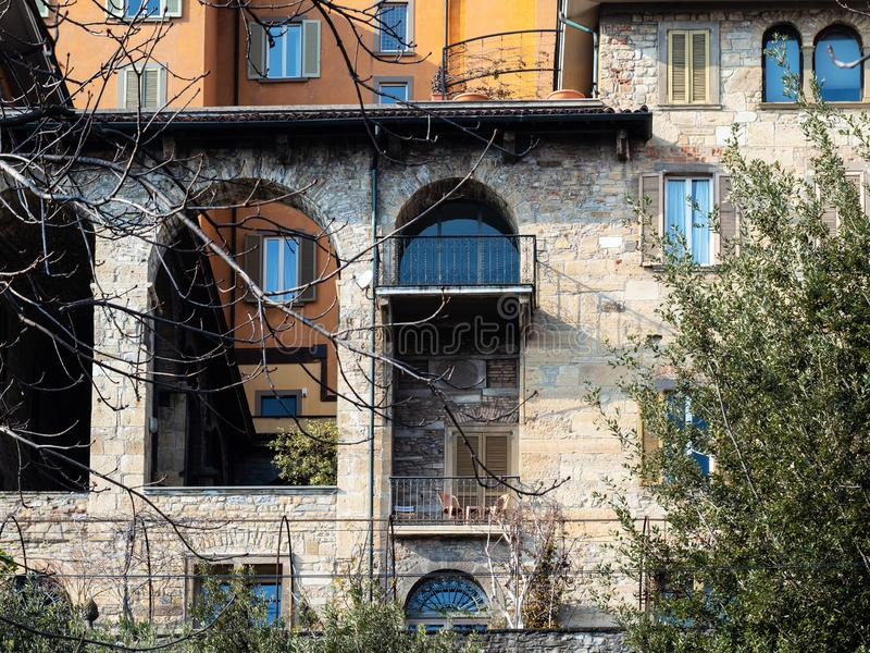 Apartment houses on viale delle Mura in Bergamo. Travel to Italy - facade of apartment houses on street viale delle Mura in Bergamo city, Lombardy royalty free stock photography