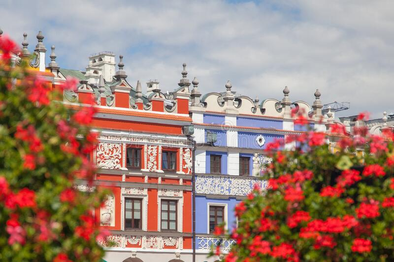 Apartment Houses in Zamosc royalty free stock photography