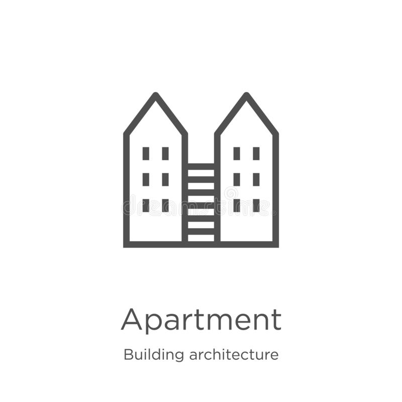 apartment icon vector from building architecture collection. Thin line apartment outline icon vector illustration. Outline, thin royalty free illustration