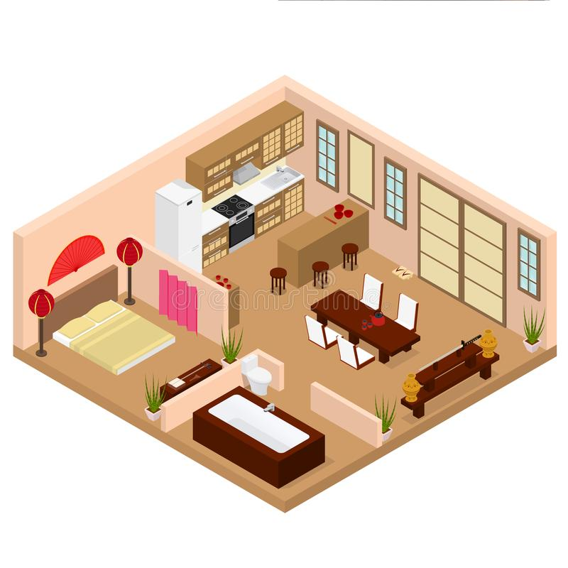 Apartment Japanese Style Interior With Furniture Isometric View ...