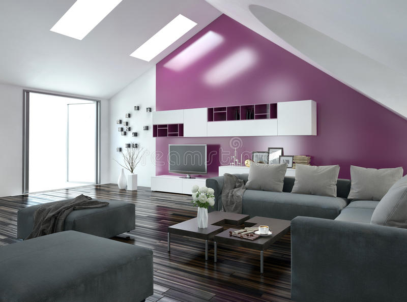 Apartment living room interior with purple accent. Modern apartment living room interior with a purple accent wall and sloping ceiling with skylights above a royalty free illustration