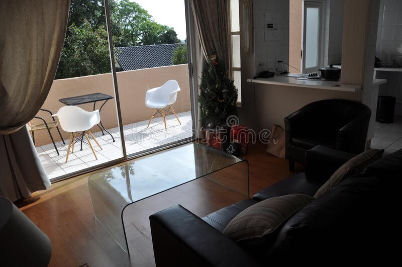 open plan patio  apartment at christmas royalty free stock image