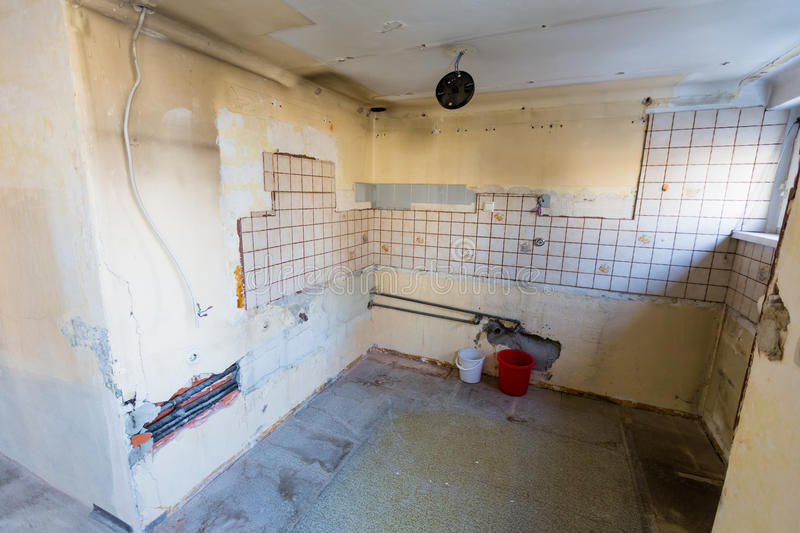 Apartment in need of renovation stock photography