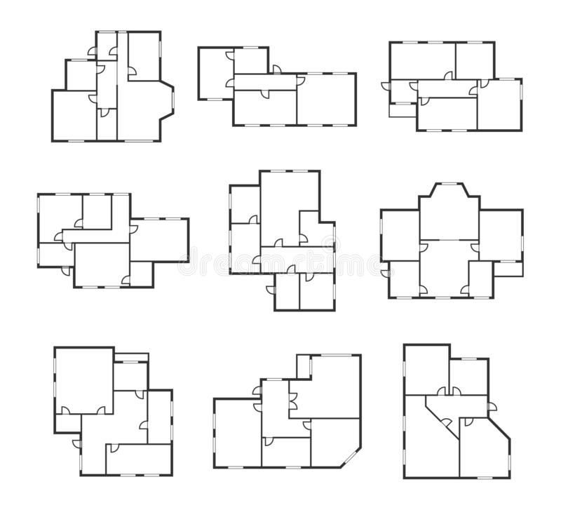 Apartment Plans Signs Black Thin Line Icon Set. Vector. Apartment Plans Signs Black Thin Line Icons Set Top View. Vector illustration of Architect Room Plan Icon vector illustration