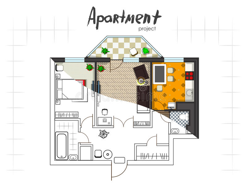 Apartment project top view royalty free illustration