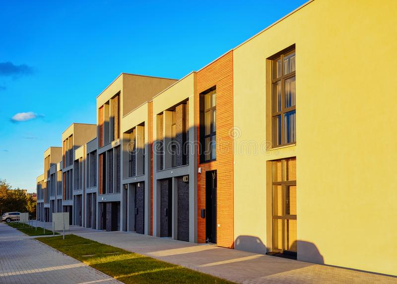 Apartment residential townhouse building outdoor concept. Street and backgrounds stock photos