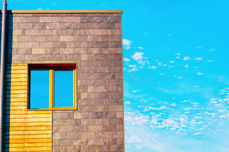 Apartment residential townhouse facade with blank place for copy space. Apartment residential townhouse facade with an blank place for the copy space. Blue sky royalty free stock images