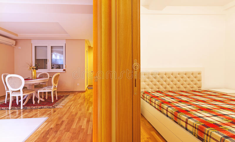 Apartment rooms. Rooms of a modern apartment, new with simple furniture royalty free stock photos