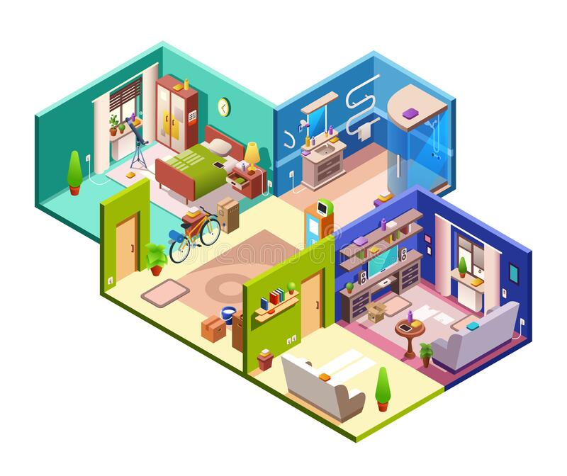 3d Isometric Floor Plan For Apartment. Vector Illustration
