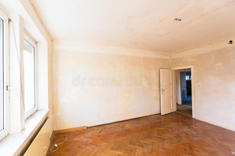 Apartment to be renovated. Old apartment, apartment symbolic photo for resolution, housing and rehabilitation needs stock image