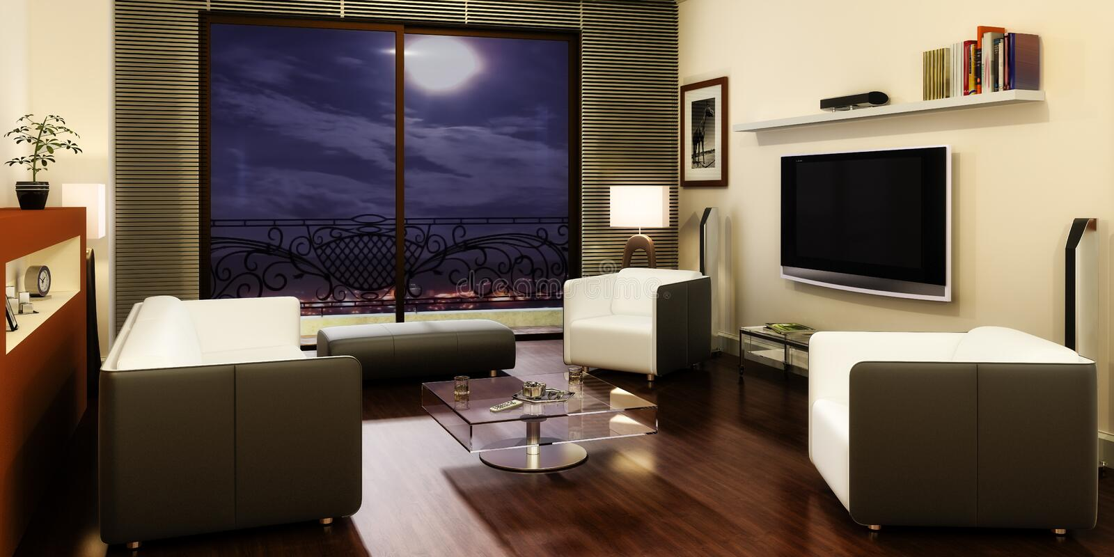 Apartment with a TV. 3d visualization royalty free illustration