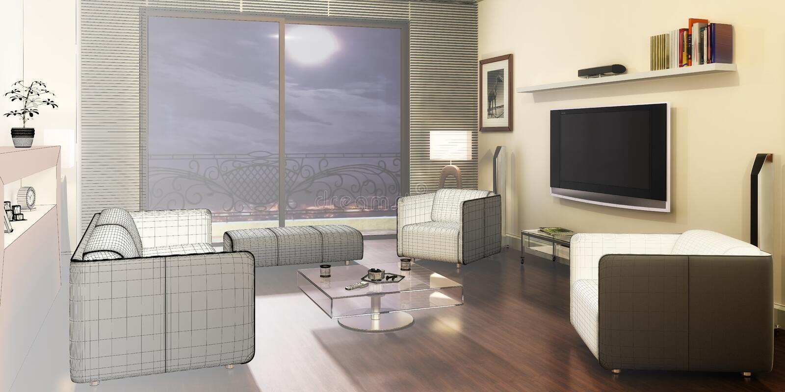 Apartment with a TV 3d. Apartment with a TV sketch - 3d visualization vector illustration