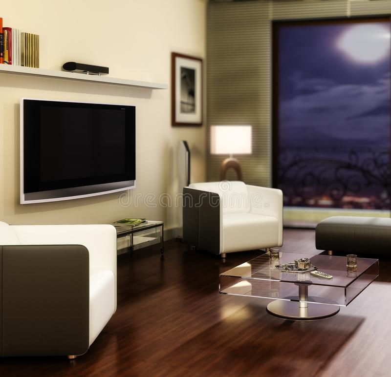 Apartment with a TV focused. 3d visualization stock illustration