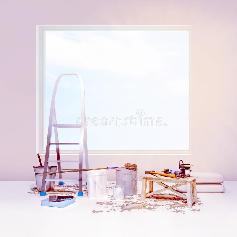 The apartment is under construction and renovation. royalty free stock image