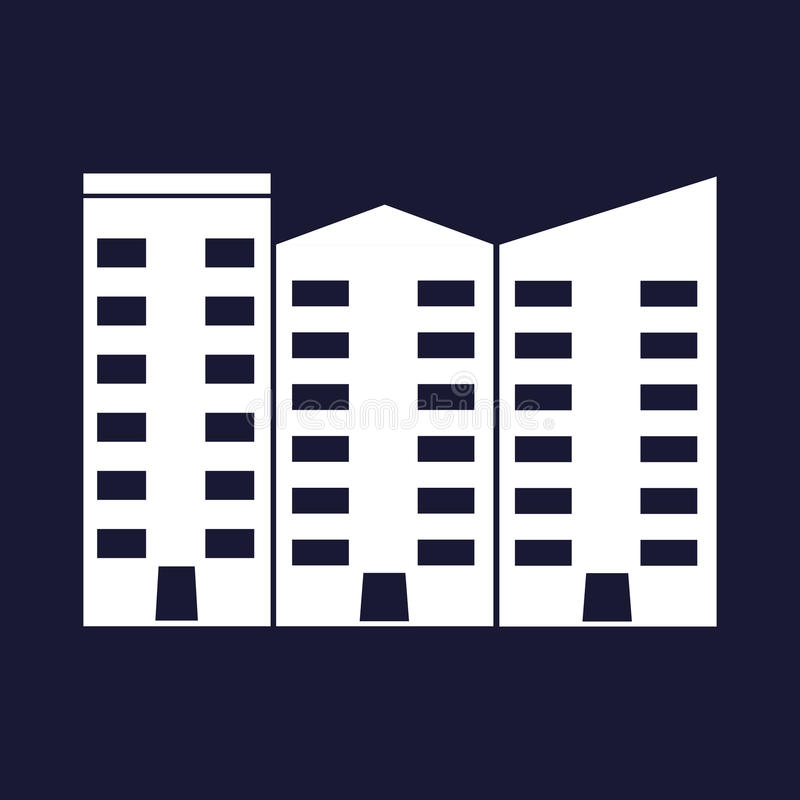 Apartment vector isolated. Office building. White vector icon on blue background. Apartment vector isolated. Office building. White vector icon on dark blue royalty free illustration
