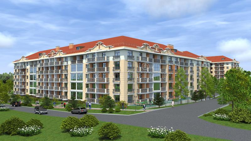 Apartmenthaus, Projekt 3D stockfotografie