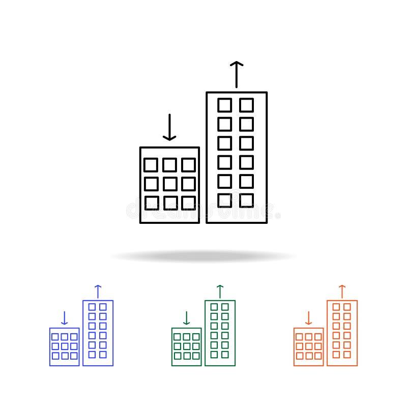 apartmentprices che cambiano, giù sull'icona Elementi del bene immobile nelle multi icone colorate Icona premio di progettazione  illustrazione di stock