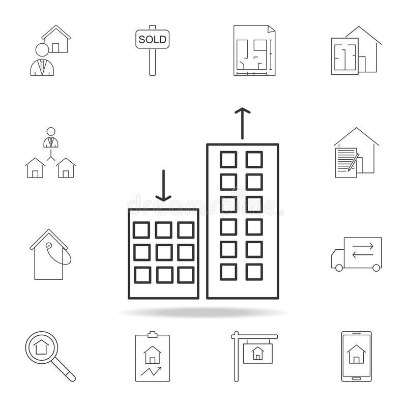 apartmentprices che cambiano, giù sull'icona Insieme delle icone dell'elemento del bene immobile di vendita Progettazione grafica illustrazione di stock