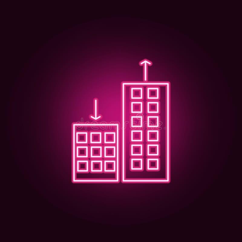 apartmentprices zmienia, w górę puszek neonowej ikony Elementy Real Estate set Prosta ikona dla stron internetowych, sie? projekt ilustracji