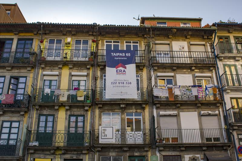 Apartments Building for sale in the center of Porto City.  royalty free stock image