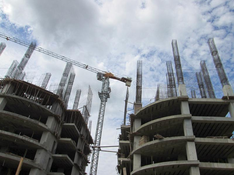 Apartments buildings under construction. royalty free stock image
