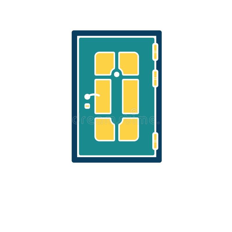 Apartments door icon. Flat color design. Vector illustration royalty free illustration