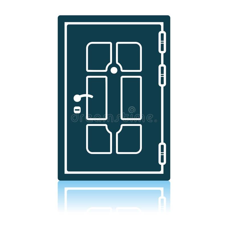 Apartments Door Icon. Shadow Reflection Design. Vector Illustration royalty free illustration