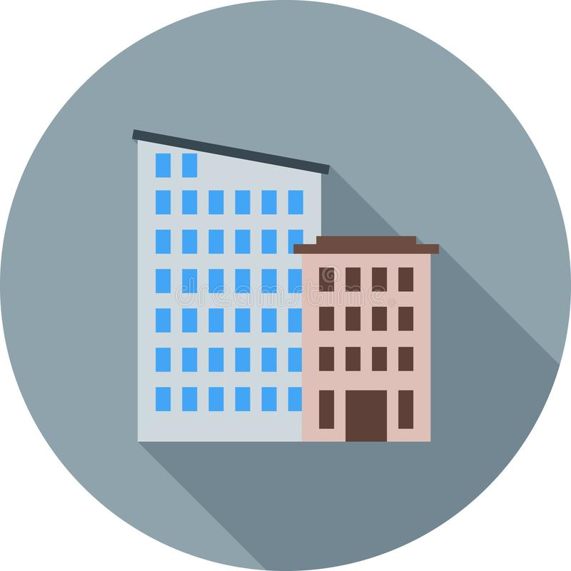 Apartments. Home, exterior icon vector image. Can also be used for town. Suitable for mobile apps, web apps and print media stock illustration