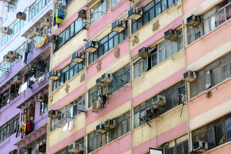 Apartments in Hong Kong. Hong Kong, China, 04/27/2014nfacade of apartment building in Hong Kong royalty free stock images