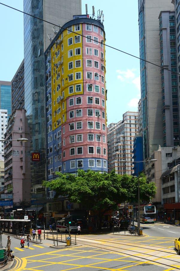 Apartments in Hong Kong. Hong Kong, China, 04/27/2014nfacade of apartment building in Hong Kong stock photos