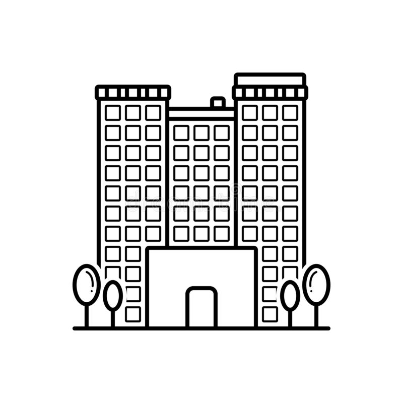 Black line icon for Apartments, building and flat. Black line icon for Apartments, flat, building, town, rental, logo and architectural royalty free illustration