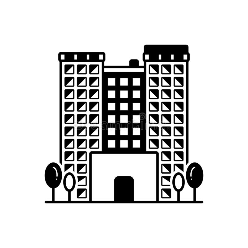 Black solid icon for Apartments, buildings and flat. Black solid icon for Apartments, architectural, rental, town,  buildings and flat royalty free illustration