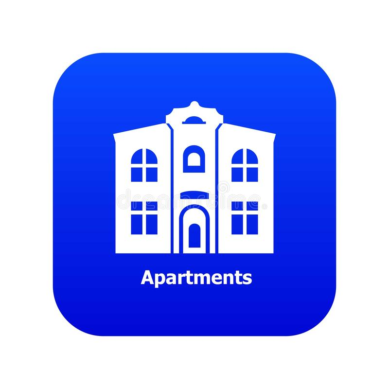 Apartments icon blue vector. Isolated on white background vector illustration