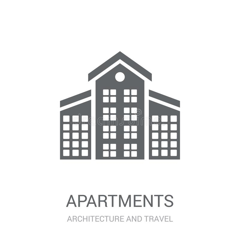 Apartments icon. Trendy Apartments logo concept on white background from Architecture and Travel collection. Suitable for use on web apps, mobile apps and stock illustration