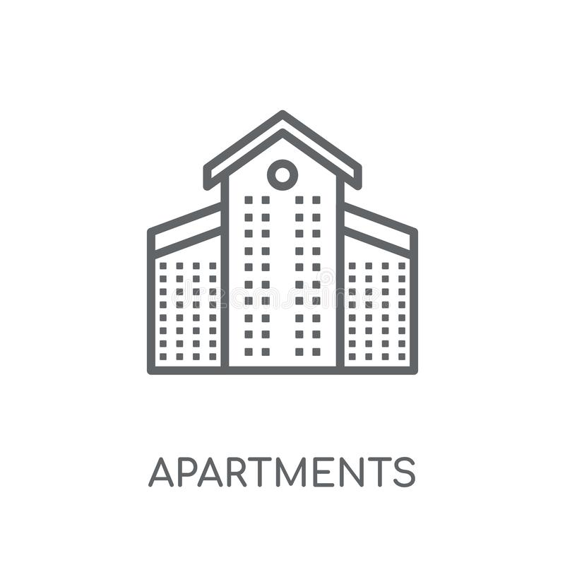 Apartments linear icon. Modern outline Apartments logo concept o. N white background from Architecture and Travel collection. Suitable for use on web apps stock illustration