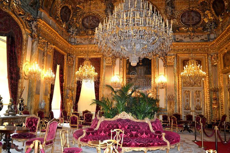 Apartments of Napoleon III in Louvre Museum. Interior of the luxury apartments of Napoleon III. Louvre Museum in Paris, France stock photos