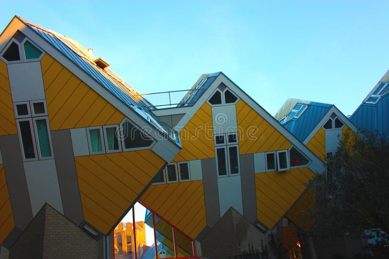 Apartments and offices inside the cubic houses of Rotterdam, metropolitan city royalty free stock photos