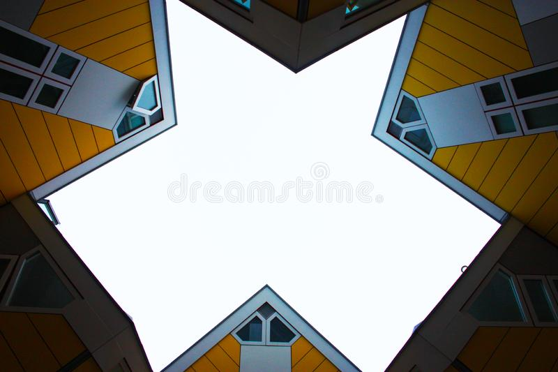 Apartments and offices inside the cubic houses of Rotterdam, metropolitan city stock image