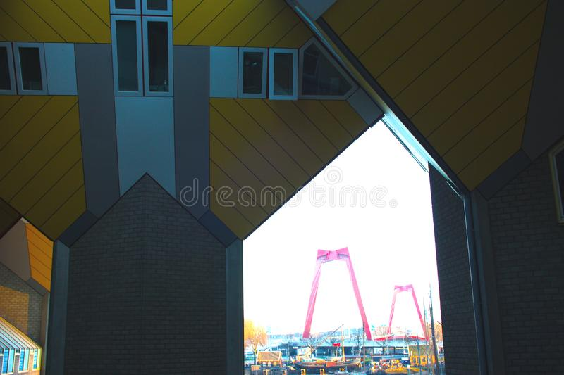 Apartments and offices inside the cubic houses of Rotterdam, metropolitan city stock photos